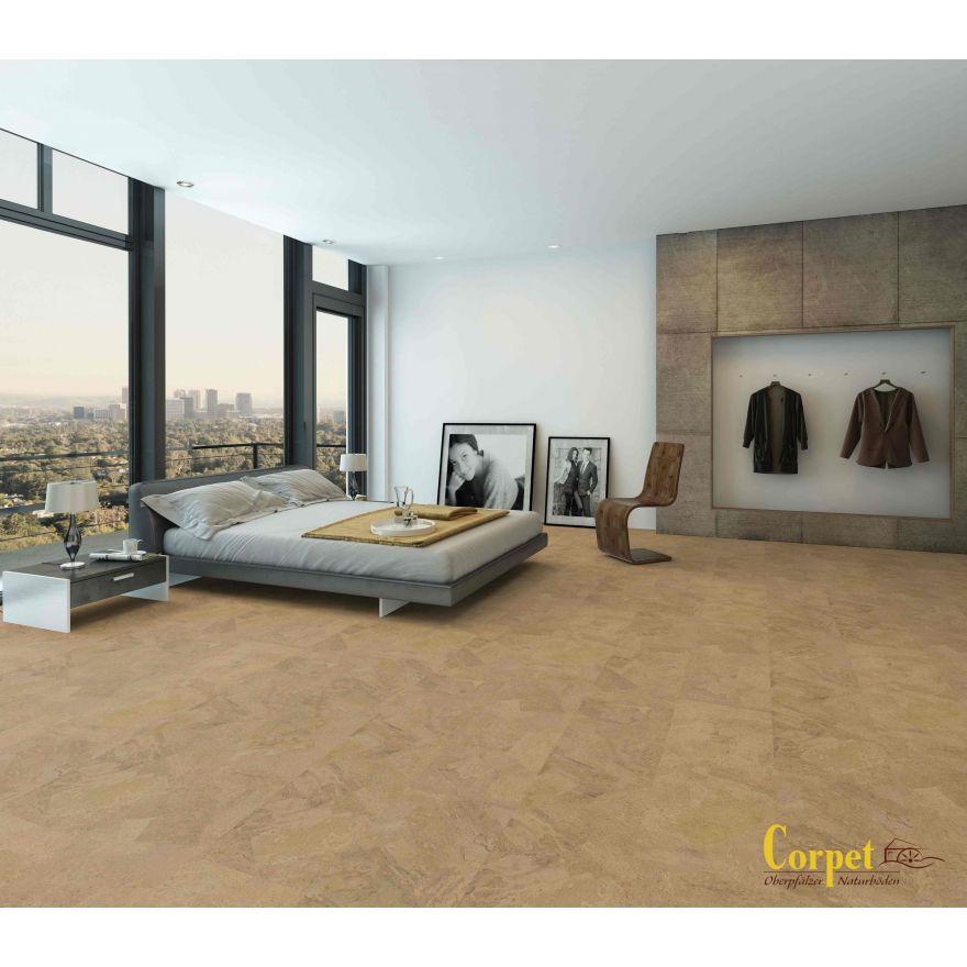 korkboden zum kleben mit dekor walzer vorgeleimt vorversiegelt. Black Bedroom Furniture Sets. Home Design Ideas